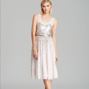 French Connection Blush Sequin Midi Dress Size 6
